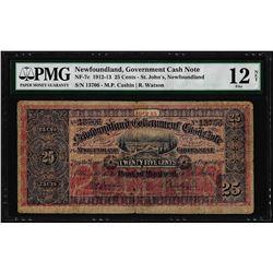 1912-13 Newfoundland 25 Cents Government Cash Note NF-7c PMG Fine 12 Net