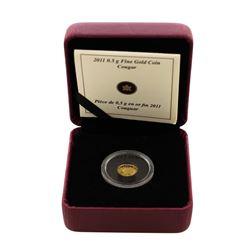 2011 Canada 25 Cents Cougar Gold Coin w/ Box & COA
