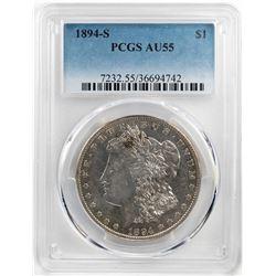 1894-S $1 Morgan Silver Dollar Coin PCGS AU55