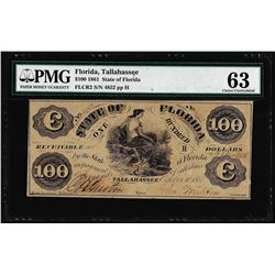1861 $100 State of Florida Tallahassee Cr.2 Obsolete Note PMG Choice Uncirculated 63