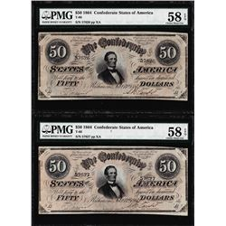 Consecutive 1864 $50 Confederate States of America Notes PMG About Uncirculated 58EPQ