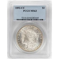 1892-CC $1 Morgan Silver Dollar Coin PCGS MS63