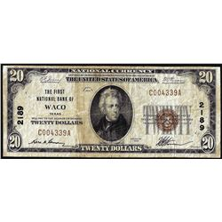 1929 $20 First National Bank of Waco, Texas CH# 2189 National Currency Note