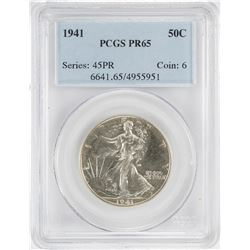 1941 Proof Walking Liberty Half Dollar Coin PCGS PR65