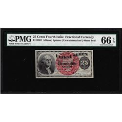 1863 25 Cent 4th Issue Fractional Currency Note Fr.1302 PMG Choice Uncirculated 66EPQ