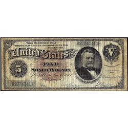 1886 $5 Silver Dollar Back Silver Certificate Note