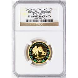2000P Australia $100 Olympics Sprinter Commemorative Gold Coin NGC PF69 Ultra Cameo