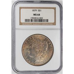 1879 $1 Morgan Silver Dollar Coin NGC MS64 Nice Toning