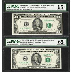 Lot of (2) 1950E $100 Federal Reserve Notes Chicago PMG Gem Uncirculated 65EPQ