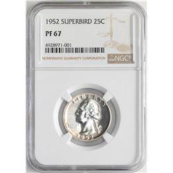 1952 Proof Superbird Washington Quarter Coin NGC PF67