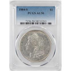 1884-S $1 Morgan Silver Dollar Coin PCGS AU50