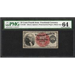 March 3, 1863 Fourth Issue 25 Cent Fractional Currency Note PMG Choice Uncirculated 64