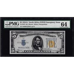 1934A $5 North Africa WWII Emergency Silver Certificate Note PMG Ch. Uncirculated 64