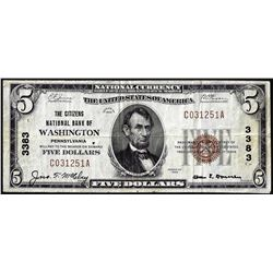 1929 $5 Citizens NB of Washington, Pennsylvania CH# 3383 National Currency Note