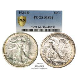 1934-S Walking Liberty Half Dollar Coin PCGS MS64