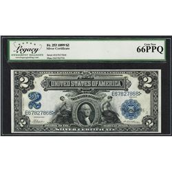 1899 $2 Mini-Porthole Silver Certificate Note Fr.253 Legacy Gem New 66PPQ