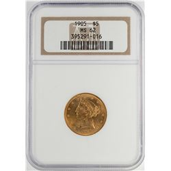 1905 $5 Liberty Head Half Eagle Gold Coin NGC MS62