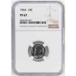 1964 Proof Roosevelt Dime Coin NGC PF67