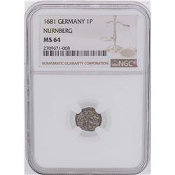 1681 Germany 1 Pfennig Nurnberg Coin NGC MS64
