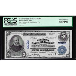 1902PB $5 Citizens NB of Washington, PA CH# 3383 National Currency Note PCGS CU64PPQ