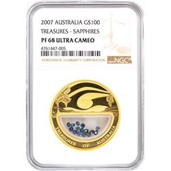 2007 Australia $100 Treasures - Sapphires Gold Coin NGC PF68 Ultra Cameo