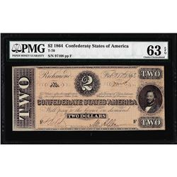 1864 $2 Confederate States of America Note T-70 PMG Choice Uncirculated 63EPQ