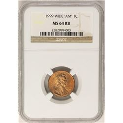 """1999 Wide """"AM"""" Lincoln Wheat Cent Coin NGC MS64RB"""
