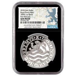 2018 Netherlands 1 oz. Silver Lion Dollar Coin NGC Gem Proof First Release Black Core