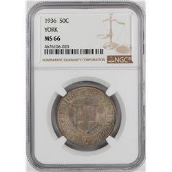 1936 York County Commemorative Half Dollar Coin NGC MS66
