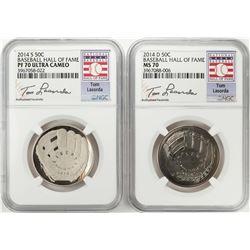 2014 Baseball Hall of Fame Half Dollar Coins NGC MS70/PF70 Ultra Cameo Tom Lasorda Set