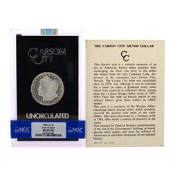 1884-CC $1 Morgan Silver Dollar Coin Uncirculated GSA Hoard NGC MS63+PL
