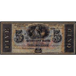 1800's $5 Citizens Bank Louisiana New Orleans, LA Obsolete Banknote