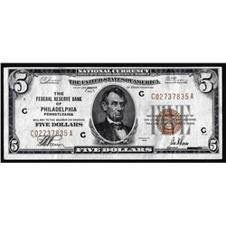 1929 $5 Federal Reserve Note Philadelphia