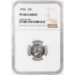 1955 Proof Roosevelt Dime Coin NGC PF68 Cameo