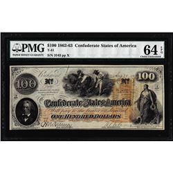 1862 $100 Confederate States of America Note T-41 PMG Choice Uncirculated 64EPQ