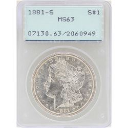 1881-S $1 Morgan Silver Dollar Coin PCGS MS63 Old Rattler Holder