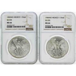 Set of 1983MO-1984MO Mexico 1 Onza Silver Libertad Coins NGC MS66