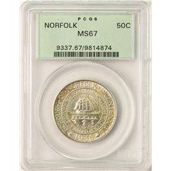 1936 Norfolk Bicentennial Commemorative Half Dollar Coin PCGS MS67 Old Green Holder