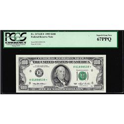 1993 $100 Federal Reserve STAR Note St. Louis Fr.2174-H* PMG Superb Gem Unc 67EPQ