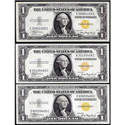 Lot of (3) 1935A $1 North Africa WWII Emergency Issue Silver Certificate Notes