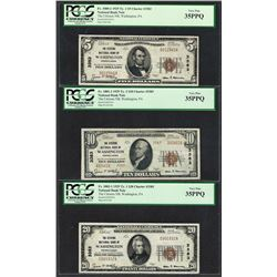 1929 $5/10/20 Citizens NB Washington, PA CH# 3383 National Currency Notes PCGS VF35PPQ