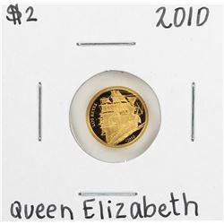 2010 $2 Tuvalu Queen Elizabeth II Los Reyes Gold Coin