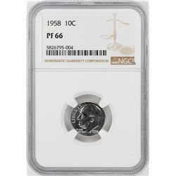 1958 Proof Roosevelt Dime Coin NGC PF66