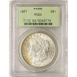 1887 $1 Morgan Silver Dollar Coin PCGS MS64 Old Green Holder Nice Toning