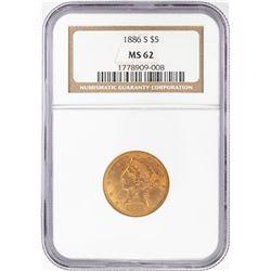 1886-S $5 Liberty Head Half Eagle Gold Coin NGC MS62