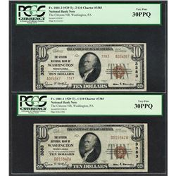 1929 $10 Ty.1/2 Citizens NB Washington, PA CH# 3383 National Currency Notes PCGS VF30PPQ