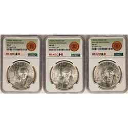 Lot of (3) 1953Mo Mexico 5 Pesos Hidalgo Bicentennial Silver Coins NGC MS63/MS64