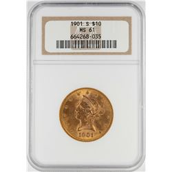 1901-S $10 Liberty Head Eagle Gold Coin NGC MS61