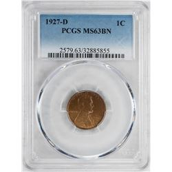 1927-D Lincoln Wheat Cent Coin PCGS MS63BN
