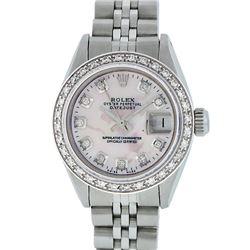 Rolex Ladies Stainless Steel Pink MOP Diamond 26MM Datejust Wristwatch